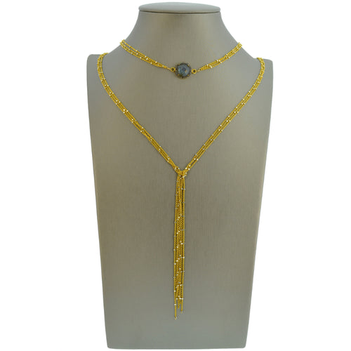 Gold Starry Nights Lariat with Diamond & Labradorite Center