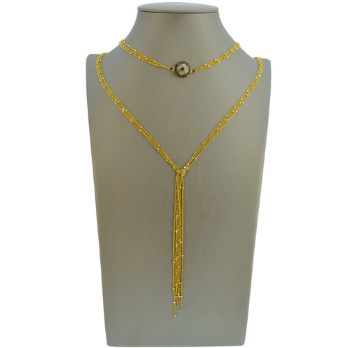 Gold Starry Nights Lariat with Diamond & Pyrite Center