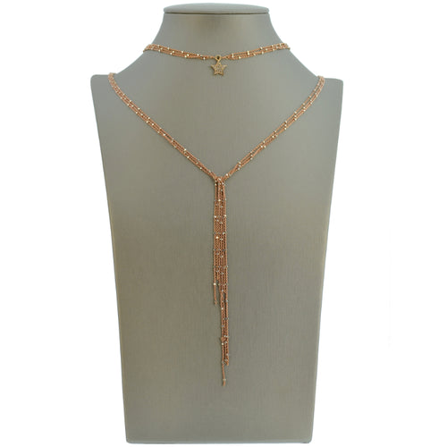 Rose Gold Starry Nights Lariat with Diamond Star Center