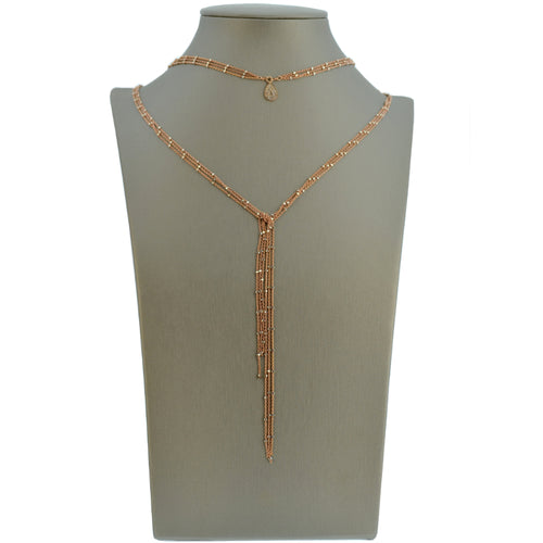 Rose Gold Starry Nights Lariat with Diamond Teardrop Center
