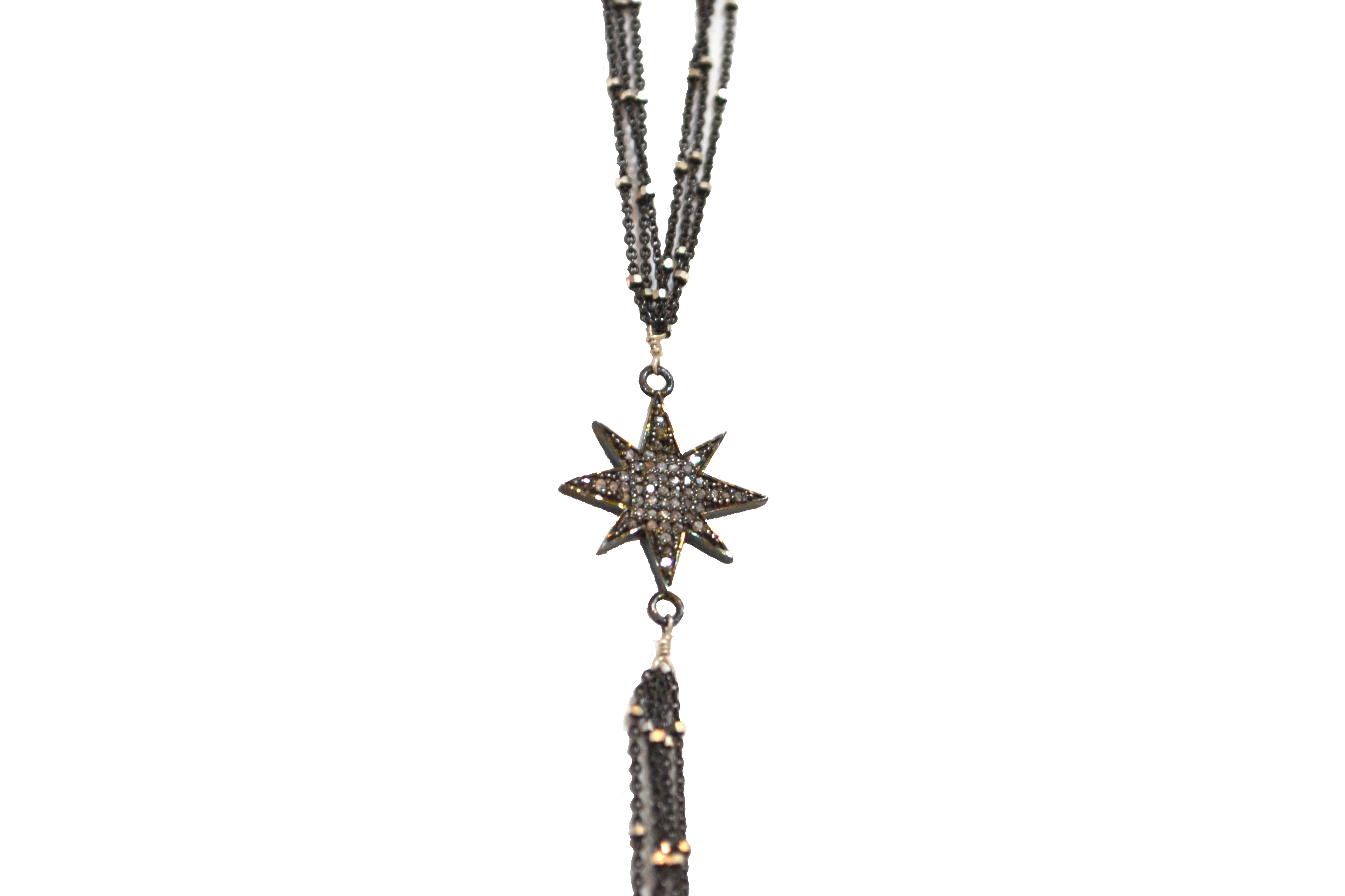 Oxidized Sterling Silver Starry Nights Diamond Starburst Y Necklace