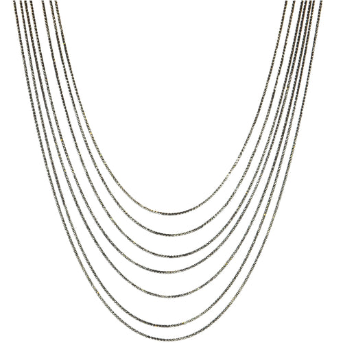 7 Layer Slinky Snake Necklace in Oxidized Sterling Silver