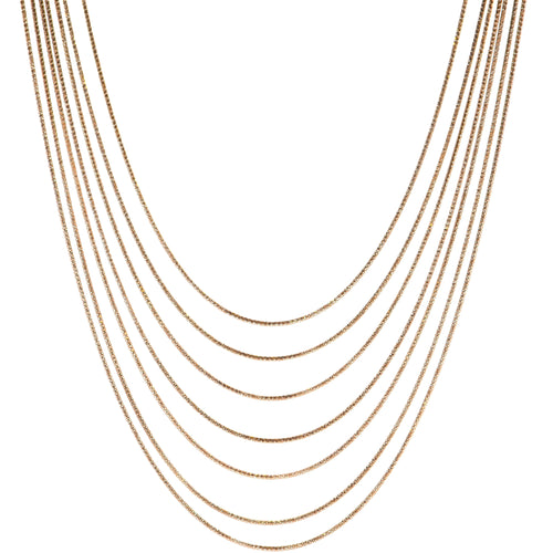 7 Layer Slinky Snake Necklace in Rose Gold