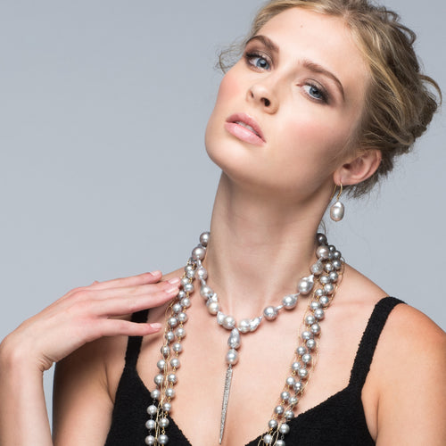 Gray Baroque Pearl Necklace with a Diamond Spike