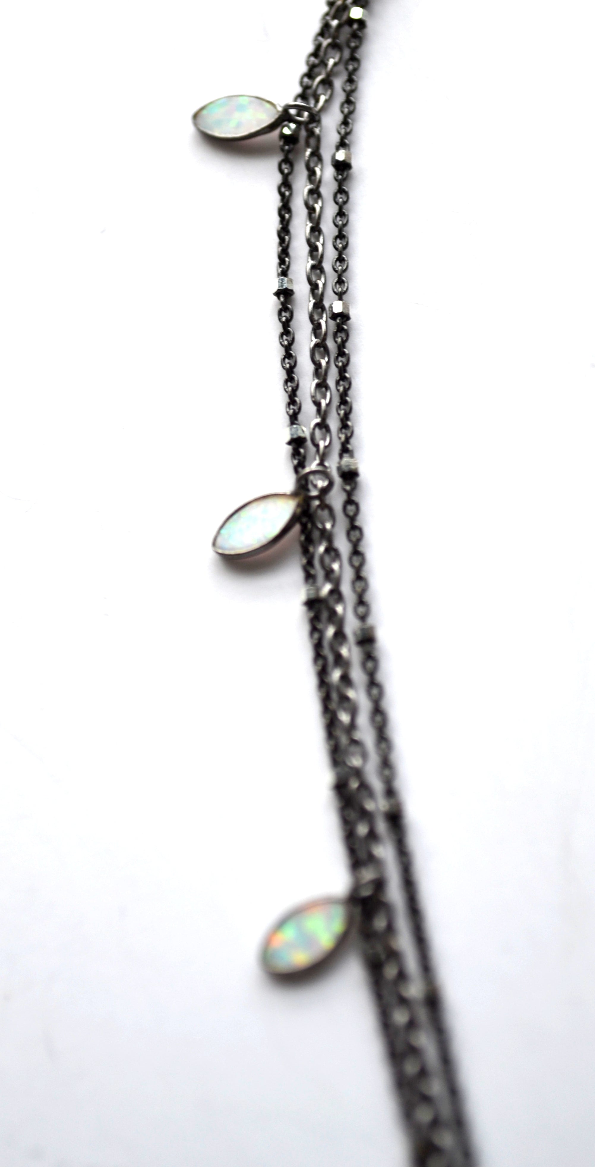 Opal Marquise and Starry Nights Necklace in Oxidized Sterling Silver