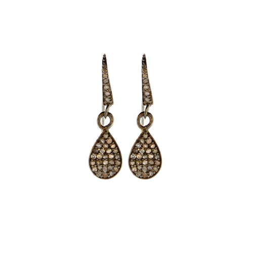 Pave Diamond Tear Drop Earrings in Oxidized Sterling Silver