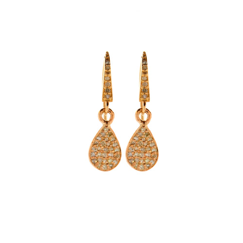 Pave Diamond Tear Drop Earrings in Rose Gold