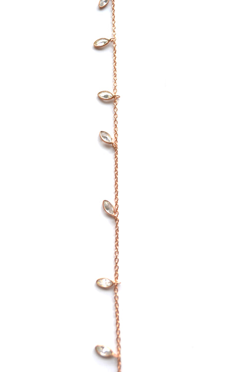Single Strand CZ Marquise Necklace in Rose Gold