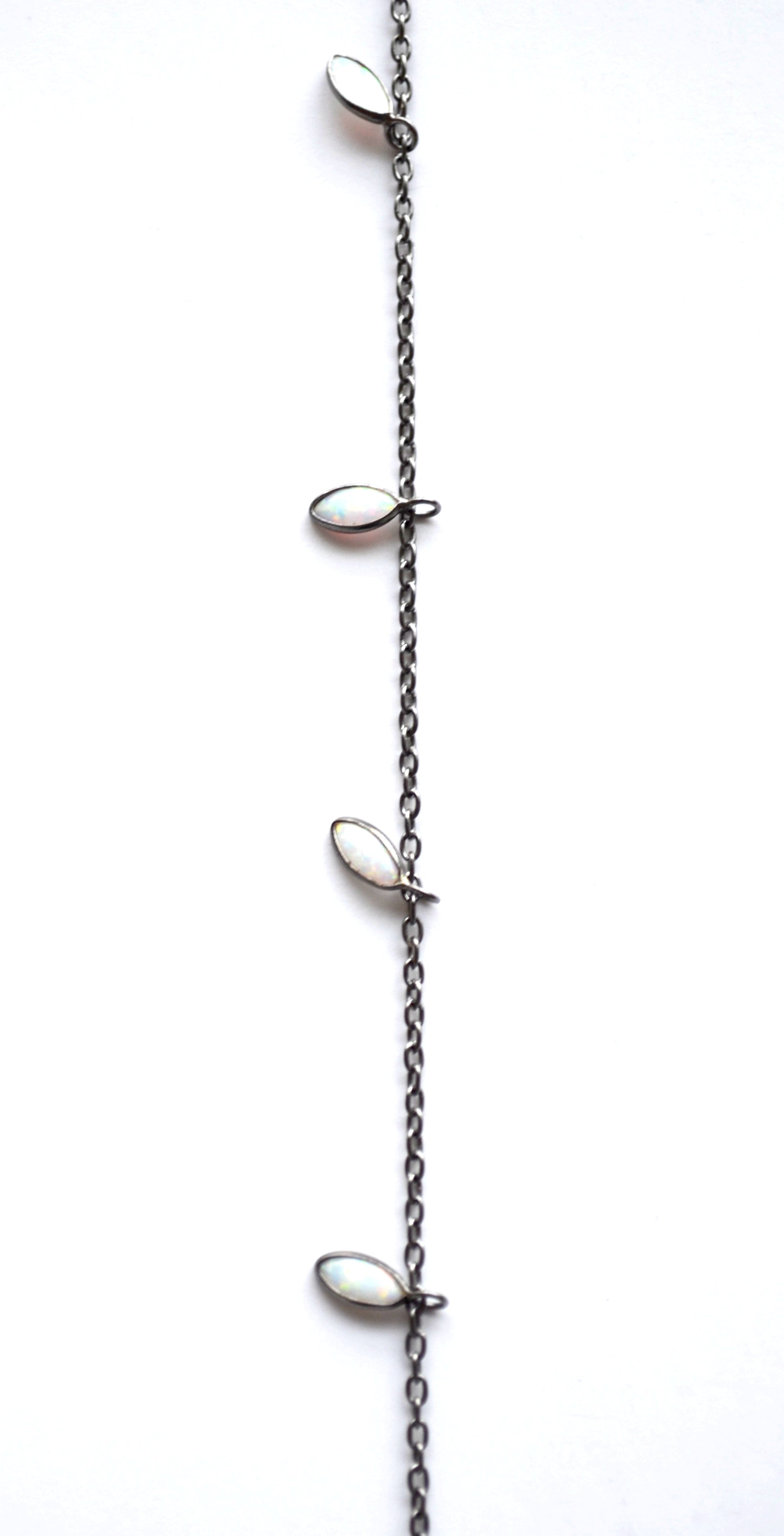 Single Strand Opal Marquise Necklace in Oxidized Sterling Silver