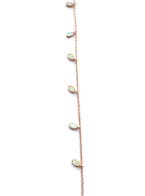 Single Strand Opal Marquise Necklace in Rose Gold