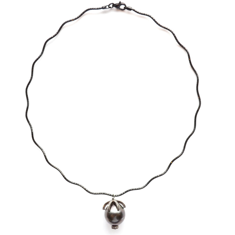 Oxidized Sterling Silver Choker with a Small Tahitian Pearl