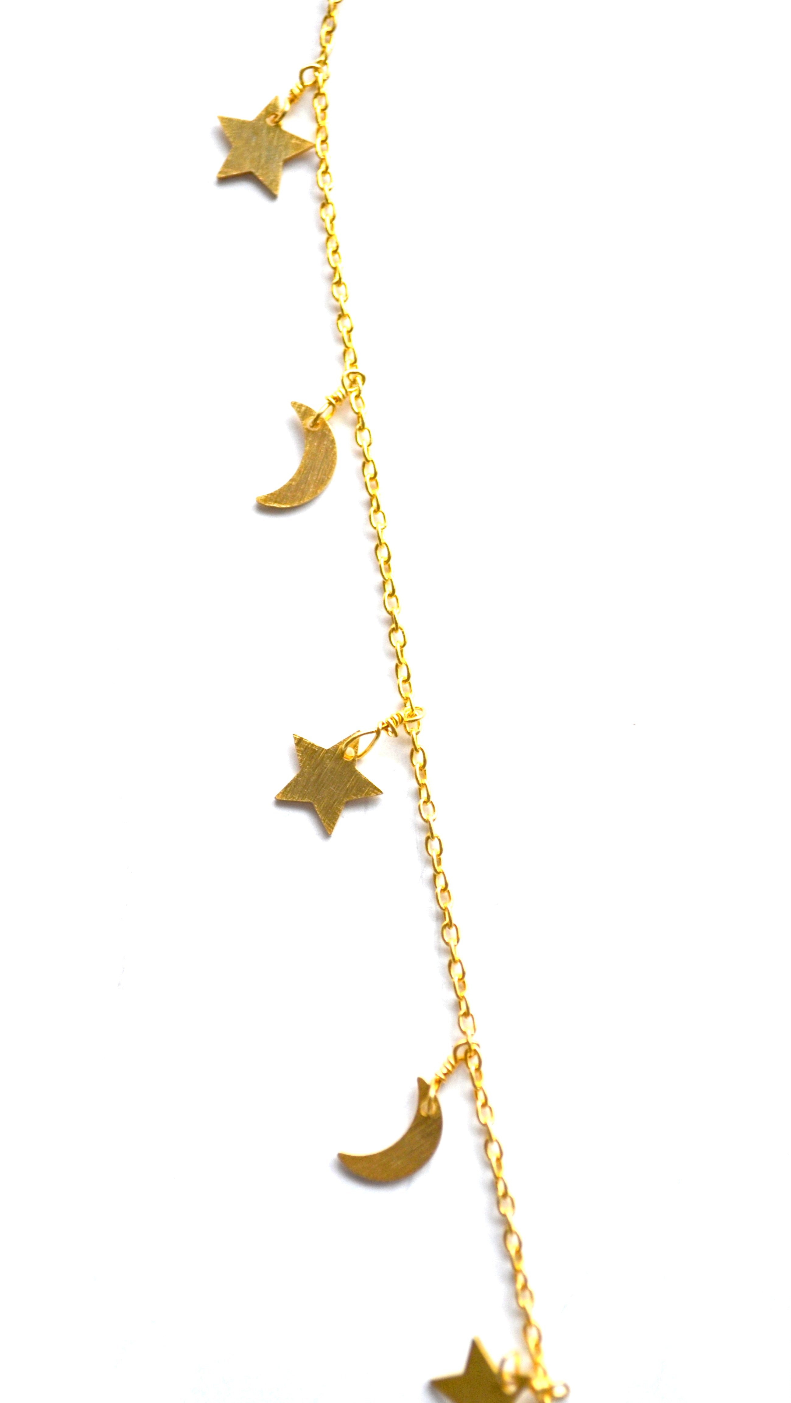 Gold Celestial Star & Moon Necklace with a Moon Charm