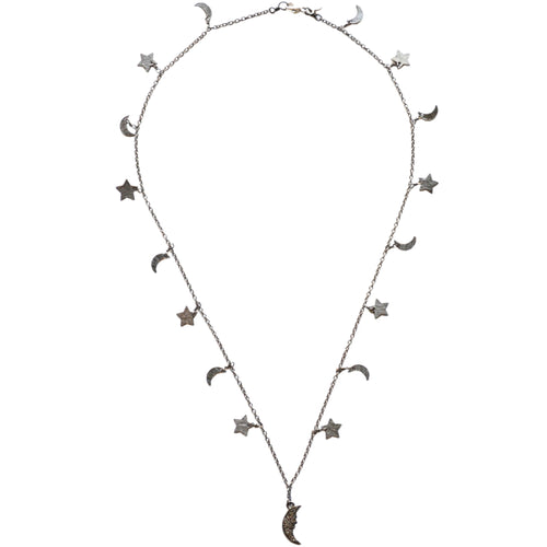 Oxidized Sterling Silver Celestial Star & Moon Necklace with a Moon Charm