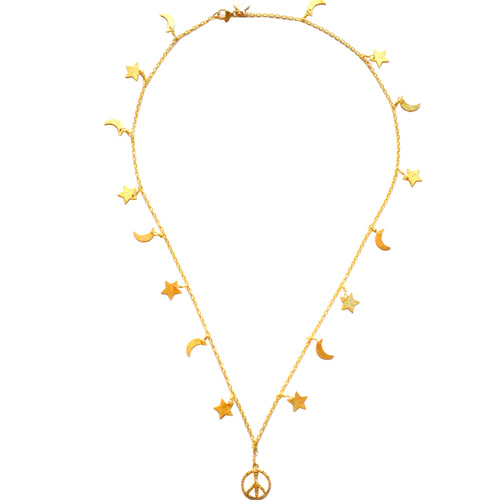 Gold Celestial Star & Moon Necklace with a Peace Sign Charm