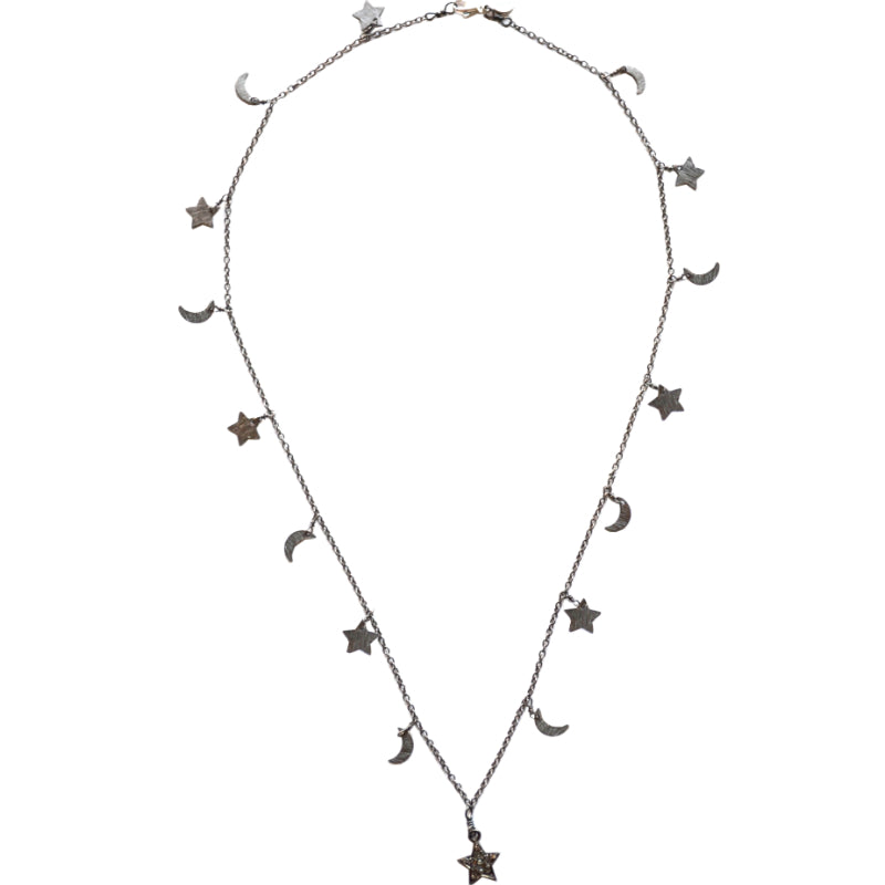 Oxidized Sterling Silver Celestial Star & Moon Necklace with a Star Charm