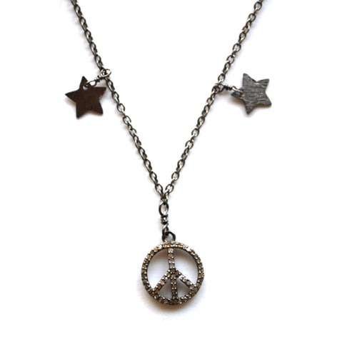 Oxidized Sterling Silver Celestial Star & Moon Necklace with a Peace Sign Charm