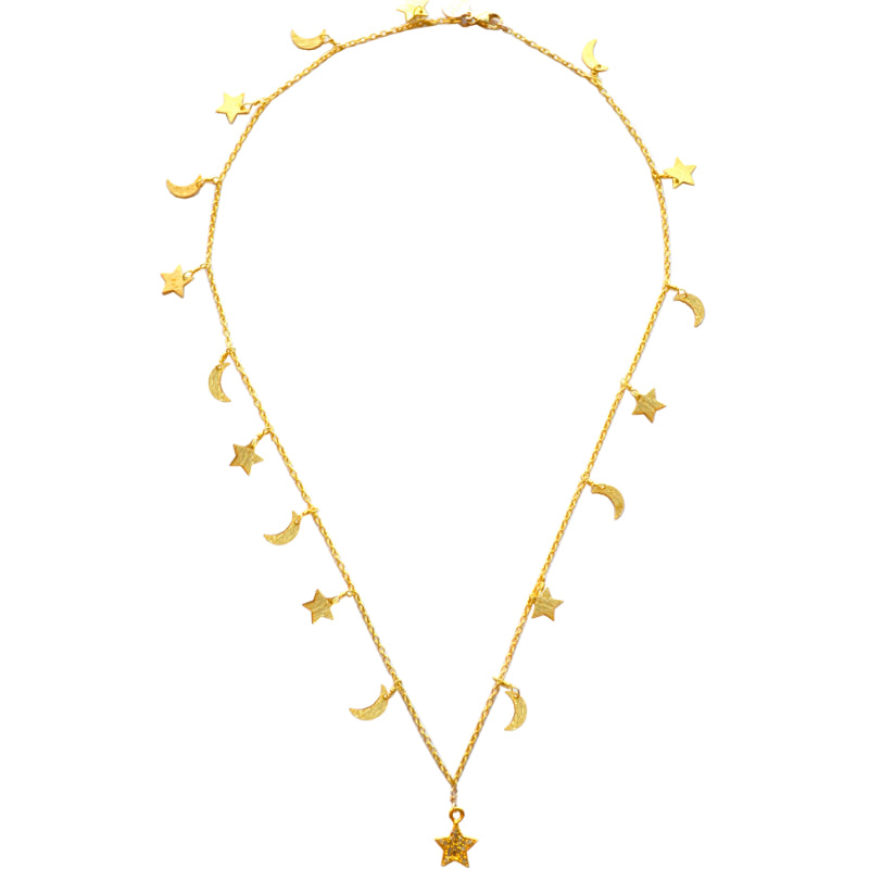 Gold Celestial Star & Moon Necklace with a Star Charm