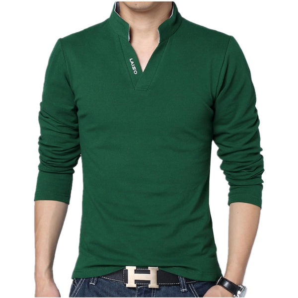 2018 Men Fashion Boutique Cotton Leisure Stand Collar Long Sleeve POLO Shirts Mens Pure Color V-neck POLO Shirt Big Size S-5XL