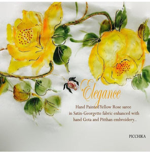 Hand painted lemon yellow roses on a silk saree with hand embroidered pitthan , Gota and French knots and border