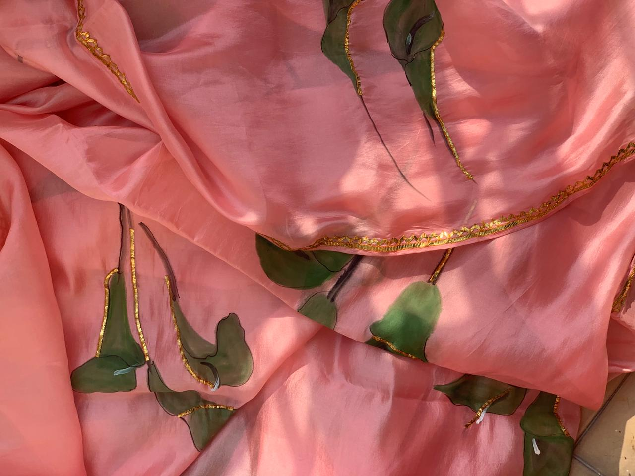 Falsa saree with petticoat and blouse stitching