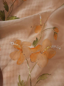 Saffron China rose saree and lily kurta