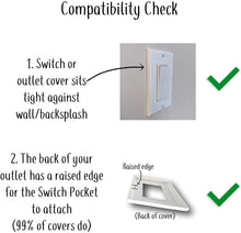 The No Screw-Ups Switch and Outlet Pocket. Installs in Seconds on Any Light Switch or Outlet Cover!