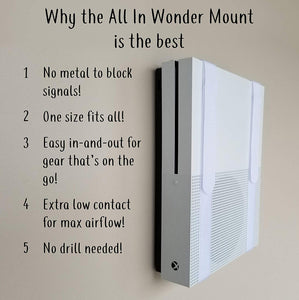The All-in Wonder Mount Deluxe by Mount Genie: The Easiest Wall Mount for All Components Routers Modems Xbox Playstation DVRs | One Size Fits All | Designed for Home and Business