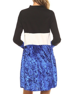 COLOR BLOCK DRESS WITH BLUE VELVET