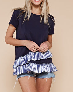 STRIPED RUFFLE KNIT TOP