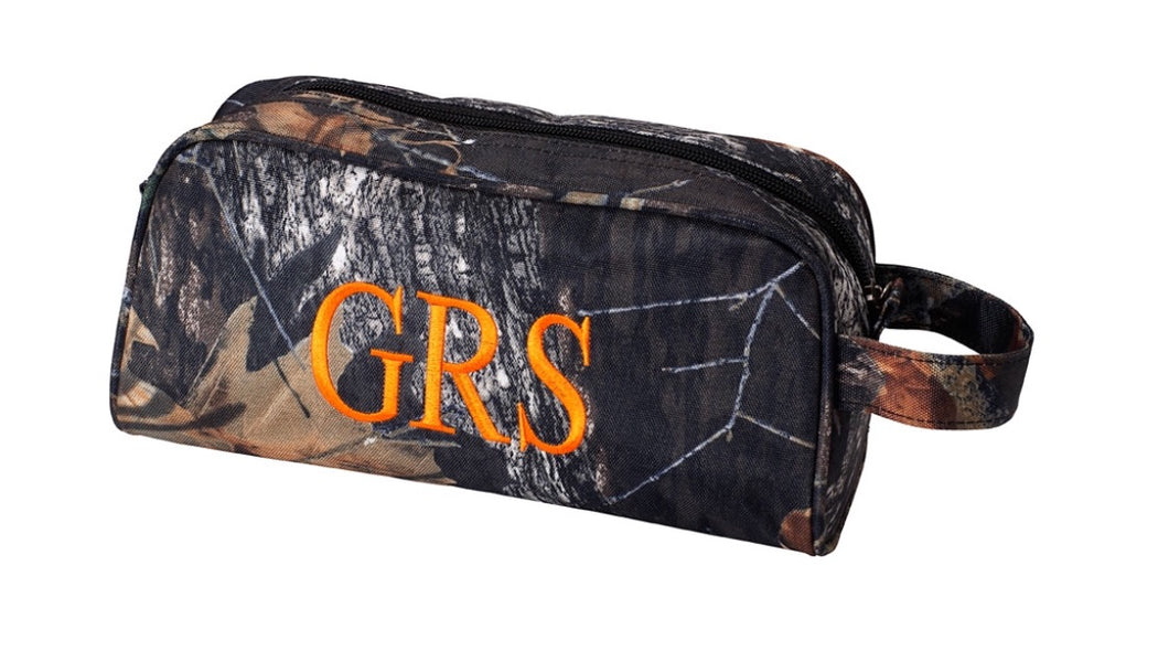 CAMO TOILETRIES BAG WITH ORANGE MONOGRAM