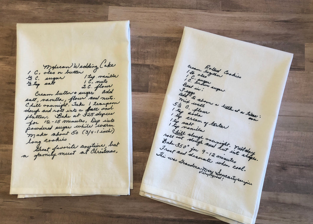 Custom Handwritten Recipe Towel