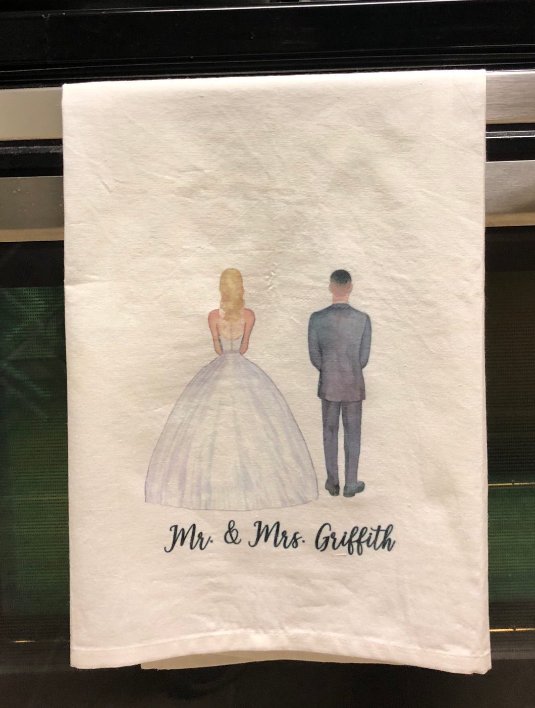 Custom Bride and Groom Tea Towel