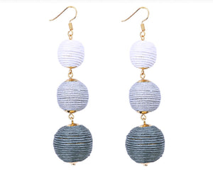 THREE DROP EARRINGS (GRAY)
