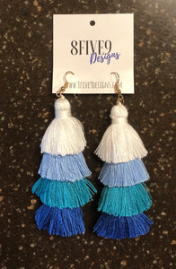 LONG TASSEL EARRINGS (BLUE)