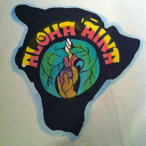 Aloha ʻĀina - a handprinted and hand colored shirt