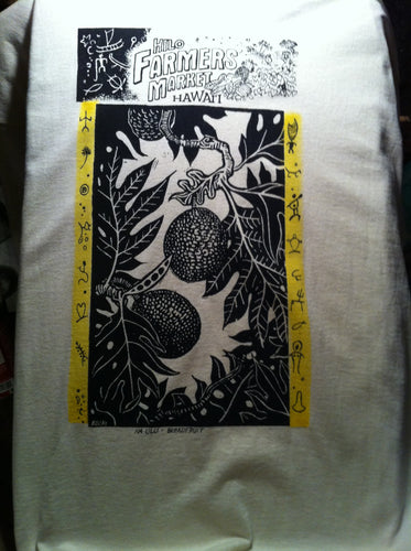 Hilo Farmer's Market (ʻUlu) - a hand printed and hand colored shirt