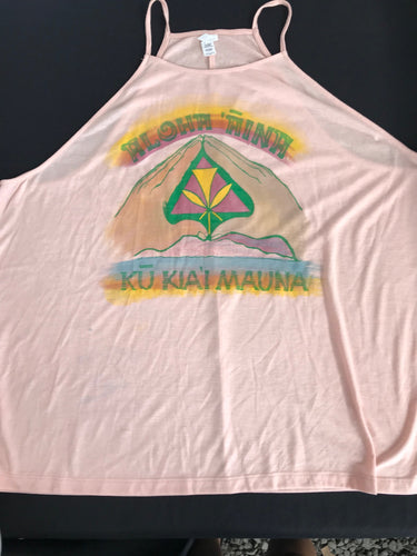 Kū Kiaʻi Mauna (hina flowy tank) - a handprinted and hand colored cute top!