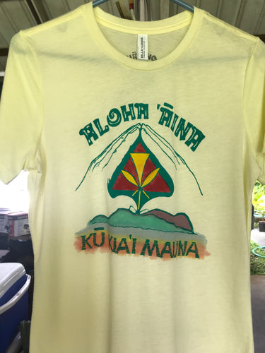 Kū Kiaʻi Mauna (Yellow Tee) - a handprinted and hand colored shirt