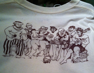 Hilo Farmer's Market (Bananas) - a hand printed and hand colored shirt