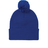 Tight knit roll-up pom pom toque