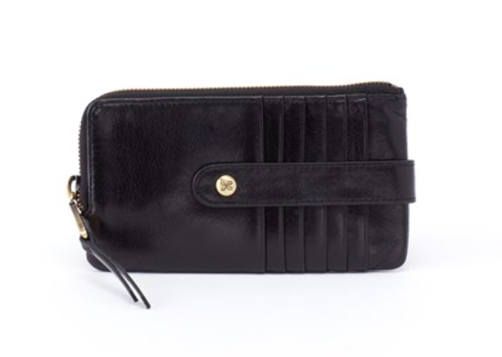 Hobo Flash Small Card Holder Wallet in Black