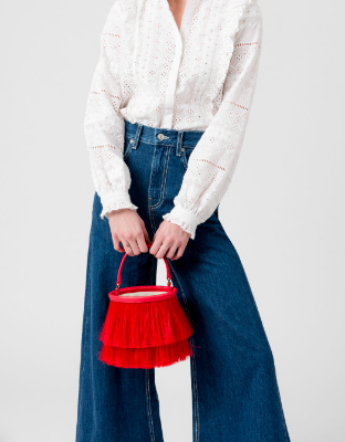 Neely & Chloe The Horse Hair Bucket Bag in Red