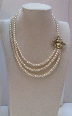 Pearl Necklace with Bee Accent