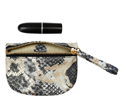 Kelly Wynne MVP Pouch in Black/Gold Python