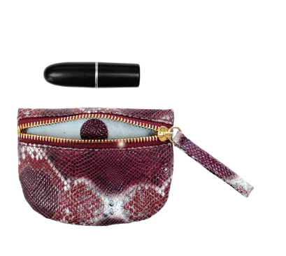 Kelly Wynne MVP Pouch in Crimson/Maroon Multi Python