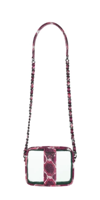 Kelly Wynne Clear Mingle Mingle Mini in Crimson/ Maroon Multi Python