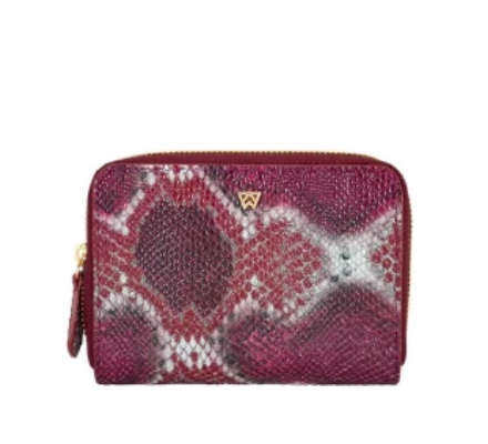 Kelly Wynne Money Maker Mini Wallet in Crimson/ Maroon Multi Python