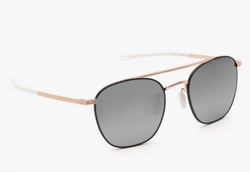 KREWE Audubon Matte Black + Rose Gold Titanium Mirror Polarized