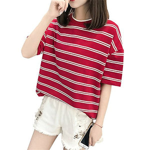 2859720b6262 2018 New Summer Women Short Sleeve O-Neck Striped T-shirt Female Casual  Korean