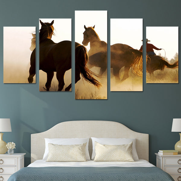 Hd printed cowboys horses painting 5 piece canvas art print room decor print poster picture canvas